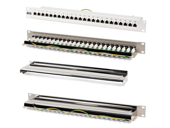 Патч-панель Hyperline PP-19-24-8P8C-C5e-SH-110D 19 24 порта RJ-45 категория 5e Dual кабель питания монитор системный блок 5 0м hyperline pwc iec13 iec14 5 0 bk