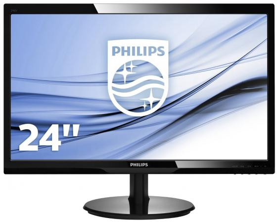 Монитор 24 Philips 246V5LSB/00/01 черный TN 1920x1080 250 cd/m^2 5 ms VGA DVI монитор жк philips 246v5lsb 00 01 24 черный