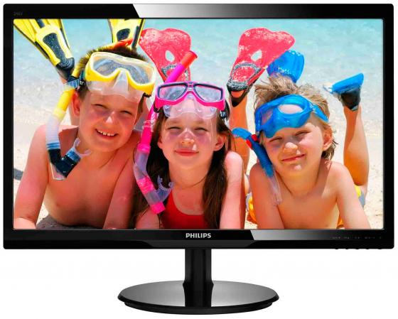 "Монитор 24"" Philips 246V5LHAB/00/01 черный TN 1920x1080 250 cd/m^2 5 ms HDMI VGA Аудио цена и фото"