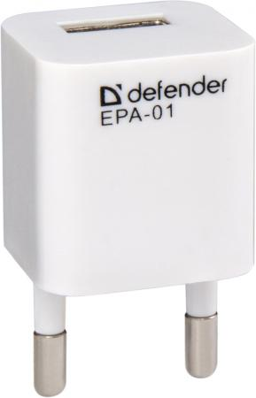 Сетевое зарядное устройство Defender EPA-01 1A белый 83523 цена и фото