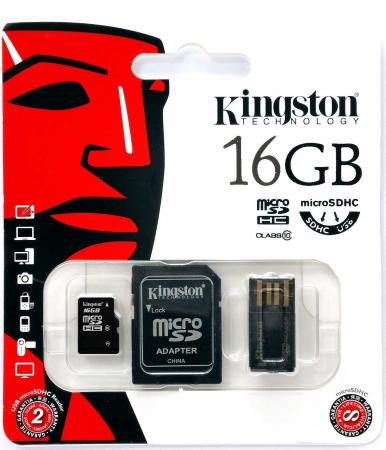 Карта памяти Micro SDHC 16GB Class 10 Kingston Multi Kit MBLY10G2/16GB + адаптер SD + USB-картридер hyperps bluetooth wireless mini portable super bass speaker with built in mp3 player supporting to play from micro sd card usb thumb drive