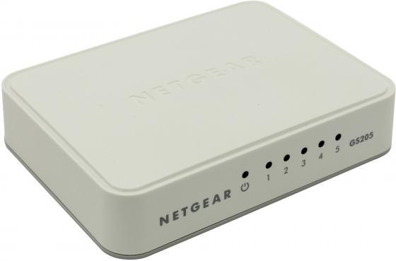 Коммутатор Netgear GS205-100PES неуправляемый 5 портов 10/100/1000Mbps коммутатор netgear fs208 100pes коммутатор на 8 портов 10 100 мбит с