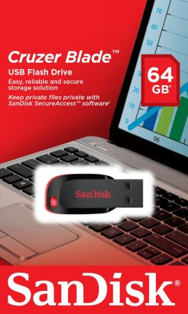 Флешка USB 64Gb SanDisk Cruzer Blade SDCZ50-064G-B35 черный флешка usb sandisk cruzer blade 16гб usb2 0 черный [sdcz50 016g b35]