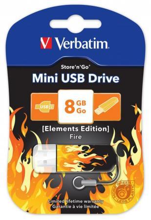 Флешка USB 8Gb Verbatim Store 'n' Go Mini ELEMENTS EDITION 98158 USB2.0 Fire цена