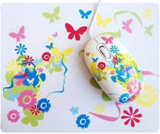 Мышь проводная CBR SET703 Fantasy + коврик белый USB мышь cbr aero battle коврик usb