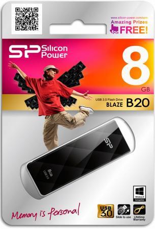 Фото - Флешка USB 8Gb Silicon Power Blaze B20 SP008GBUF3B20V1K черный флешка usb 64gb silicon power blaze b20 sp064gbuf3b20v1k usb3 0 черный