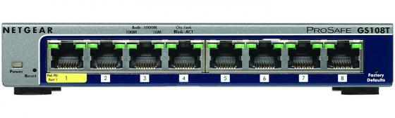 Коммутатор Netgear GS108T-200GES управляемый 8 портов 10/100/1000Mbps netgear gs108т 200ges