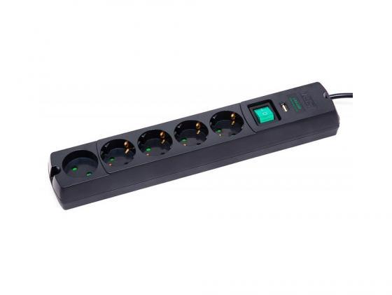 Сетевой фильтр MOST Lite LRG-USB 5 розеток 1.7 м черный