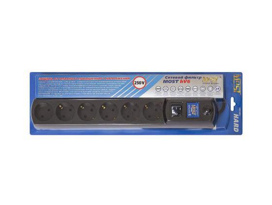 Сетевой фильтр MOST HV6 6 розеток 5 м черный