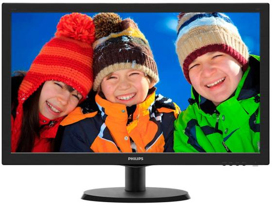 "Монитор 22"" Philips 223V5LHSB/0001 черный TFT-TN 1920x1080 250 cd/m^2 5 ms VGA HDMI Аудио цена и фото"