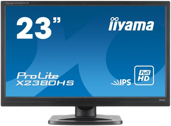 Монитор 23 iiYama X2380HS-B1 черный IPS 1920x1080 250 cd/m^2 5 ms VGA DVI HDMI Аудио монитор lg 24ud58 b черный ips 3840x2160 250 cd m^2 5 ms g t g hdmi displayport