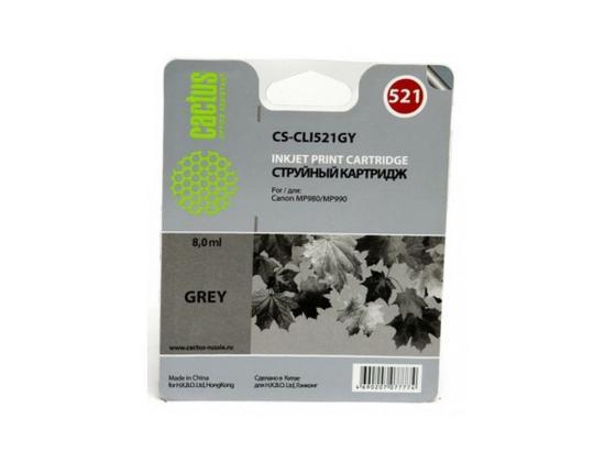 Картридж Cactus CS-CLI521GY для Canon MP980 MP990 серый 1395стр cactus cs i cli521gy