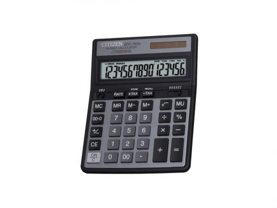 цена на Калькулятор Citizen SDC-760N двойное питание 16 разряда настольный две памяти налог черный SDC760N