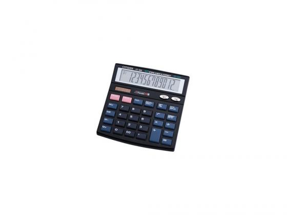 Калькулятор Citizen CT-555N двойное питание 12 разряда настольный проверка коррекция налог черный цена