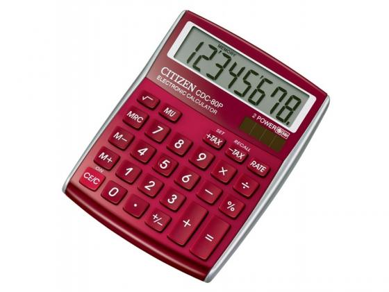 Калькулятор Citizen CDC-80RD двойное питание 8 разряда настольный налог наценка красный