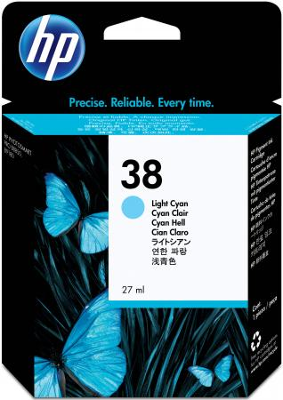 Картридж HP C9418A №38 для HP pro B9180 светло-голубой 1270стр картридж hp pigment ink cartridge 70 black z2100 3100 3200 c9449a