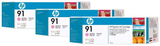 Картридж HP C9486A №91 для HP DJ Z6100 светло-пурпуный 3шт картридж hp c9483a 91 для hp dj z6100 голубой 3шт