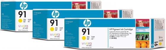 Картридж HP C9485A №91 для HP DJ Z6100 желтый 3шт картридж hp c9481a 91 для hp dj z6100 черный 3шт