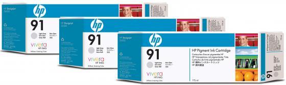 Картридж HP C9482A №91 для HP DJ Z6100 серый 3шт картридж hp c9483a 91 для hp dj z6100 голубой 3шт