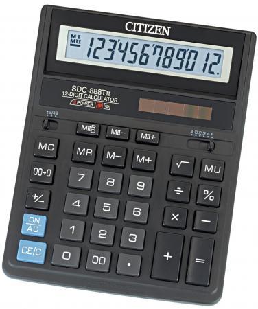 Калькулятор бухгалтерский Citizen SDC-888TII 12-разрядный черный калькулятор citizen sdc 554s 667496