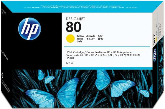 Картридж HP C4873A №80 для HP DJ 1050C желтый картридж hp pigment ink cartridge 70 black z2100 3100 3200 c9449a