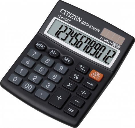 Калькулятор настольный Citizen SDC-812BN 12-разрядный черный калькулятор citizen sdc 888xwh 12 разрядный белый