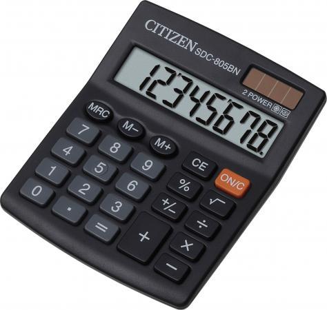 Калькулятор настольный Citizen SDC-805BN 8-разрядный citizen настольный калькулятор sdc 8001nii
