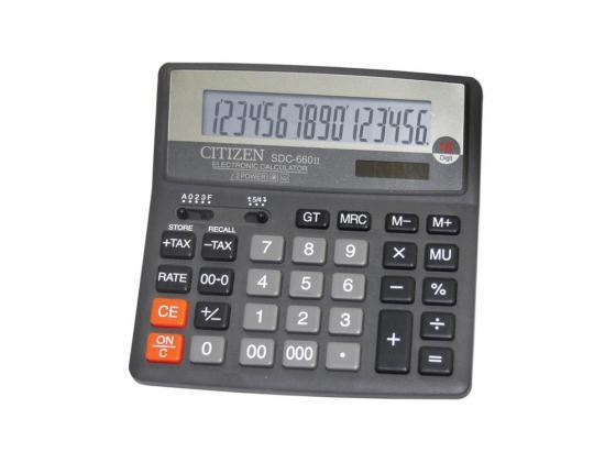 Калькулятор Citizen SDC-660II двойное питание 16 разряда бухгалтерский черный калькулятор научный citizen srp 145n 8 2 разряда черный 86 функций питание от батареи арт srp145n