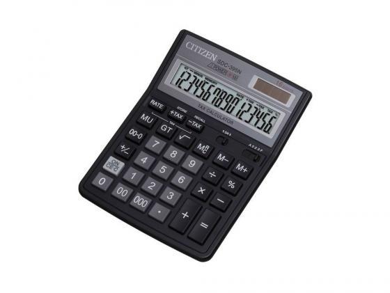 цена на Калькулятор Citizen SDC-395N двойное питание 16 разряда бухгалтерский черный