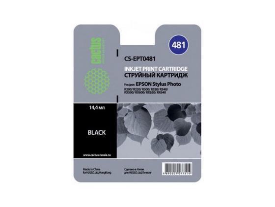 Картридж Cactus CS-EPT0481 для Epson R200 R220 R300 R320 черный картридж cactus cs ept0487 для epson stylus photo r200 r220 6шт