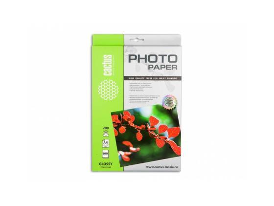 Бумага Cactus CS-GA4200100 A4 200г/кв.м глянцевая 100л бумага hi black a200102u a4 230г м2 глянцевая односторонняя 100л h230 a4 100