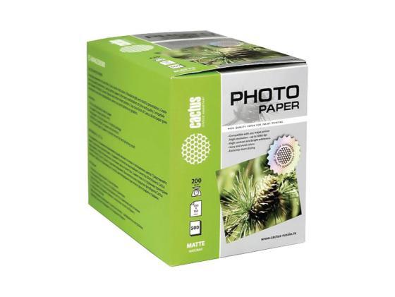 Фото - Бумага Cactus CS-MA6200500 10x15см 200г/кв.м 500л матовая бумага cactus cs ma6190100 10x15см 190г кв м матовая 100л
