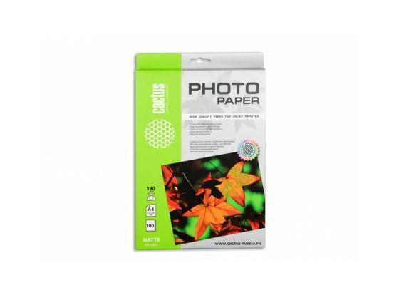 Фото - Бумага Cactus CS-MA4190100 A4 190г/кв.м матовая 100л бумага cactus cs ma6190100 10x15см 190г кв м матовая 100л