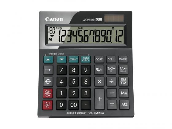 Калькулятор Canon AS-220RTS 12 разряда настольный наклонный дисплей налог бизнес черный canon as 130 черный