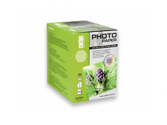 Фото - Бумага Cactus CS-GA6200500 10x15см 200г/кв.м глянцевая 500л бумага cactus cs ma6190100 10x15см 190г кв м матовая 100л