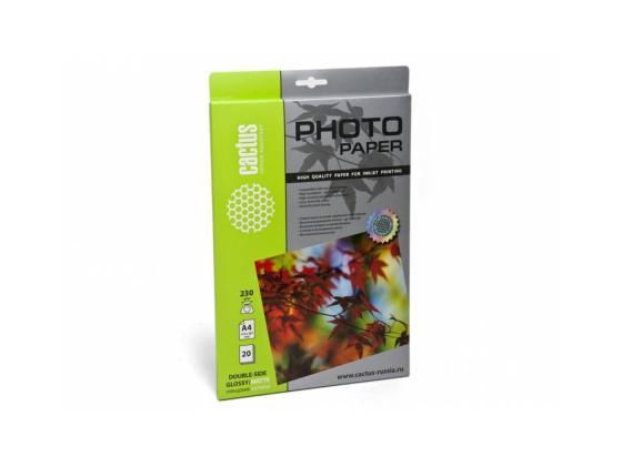 Бумага Cactus CS-GMA423020 А4 230г/кв.м глянцевая/матовая двухсторонняя 20л бумага цв а4 20л 10цв хобби тайм 2 вида