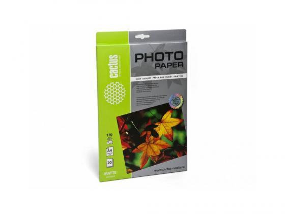 Бумага Cactus CS-MA417020 А4 170г/кв.м матовая 20л бумага фото lomond а4 суперглянец 20л 170г м2 одностор