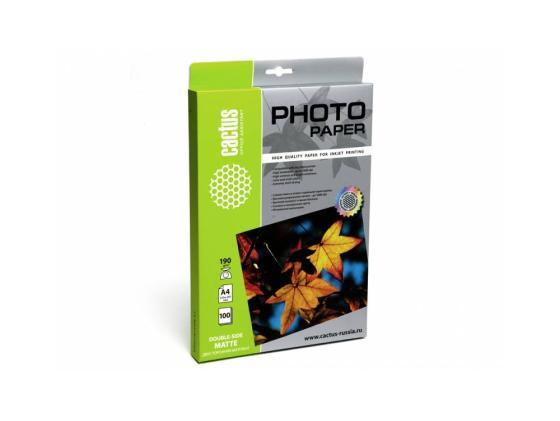 Фото - Бумага Cactus CS-MA4190100DS А4 190г/кв.м матовая двусторонняя 100л бумага cactus cs ma6190100 10x15см 190г кв м матовая 100л