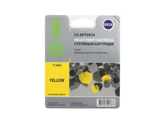 Картридж Cactus CS-EPT0924 для Epson Stylus C91 CX4300 T26 T27 TX106 желтый 500стр