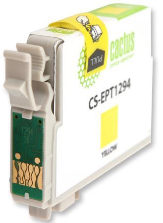 Картридж Cactus CS-EPT1294 для Epson Stylus Office B42 BX305 BX305F BX320 желтый 630стр картридж cactus cs ept1291 для epson stylus office b42 bx305 bx305f bx320 15мл черный