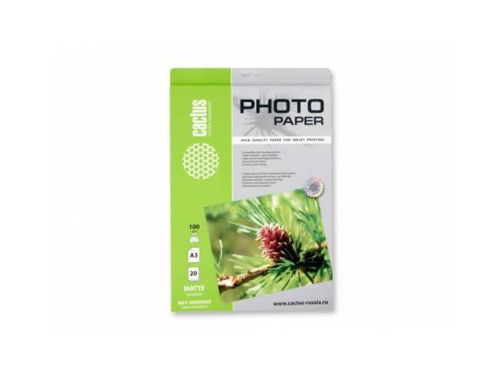Бумага Cactus CS-MSA310020 А3 100г/кв.м матовая самоклеящаяся 20л