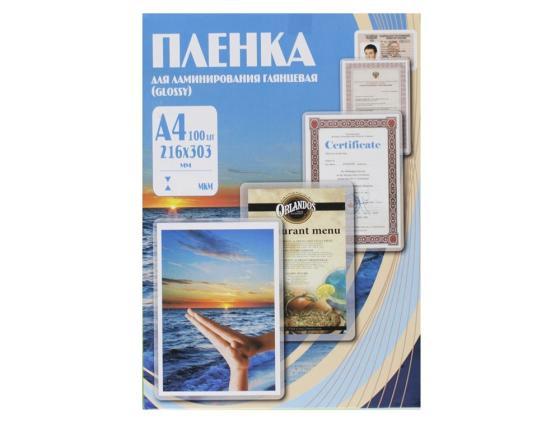 Пленка для ламинирования Office Kit А4 80мик 100шт 216х303 глянцевая PLP10323 пружина пластиковая office kit bp2011 8мм белый 100шт