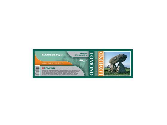 Бумага для плоттера Lomond 90г/м2 914мм х 45м х 50 для САПР и ГИС матовая 1202012 бумага для сапр и гис матовая с роллом 50 8 мм 120 г м2 0 610x30 м