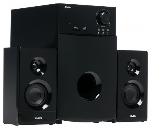 цена на Колонки Sven MS-2100 2х15 + 50 Вт SD/USB FM дисплей ПДУ черный