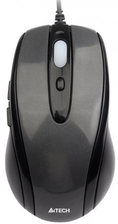Мышь проводная A4TECH N-708X-1 V-Track Padless чёрный серый USB