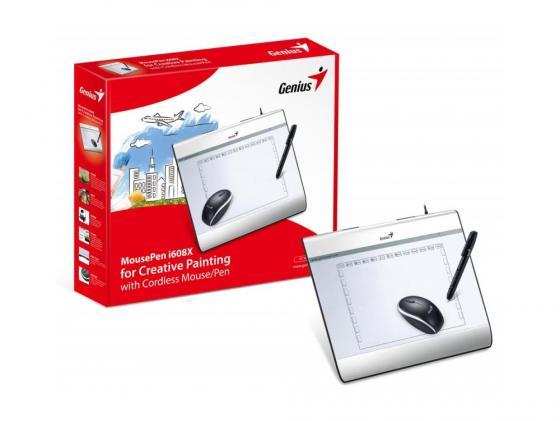 Графический планшет Genius Mouse Pen i608x белый графический планшет genius mousepen i608x раб зона 6х8 дюймов стилус беспроводная мышь разрешение 2540lpi скорость 100dps горячих кл 29 usb