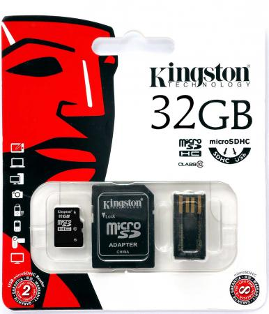 Карта памяти Micro SDHC 32Gb Class 10 Kingston Multi Kit MBLY10G2/32GB + адаптер SD + USB-картридер ozuko multi functional men backpack waterproof usb charge computer backpacks 15inch laptop bag creative student school bags 2018