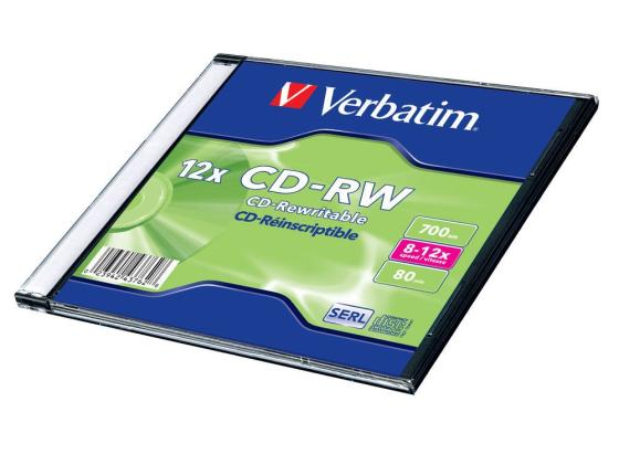 Диски CD-RW Verbatim 700Mb 8-12x SlimCase 20шт 43762