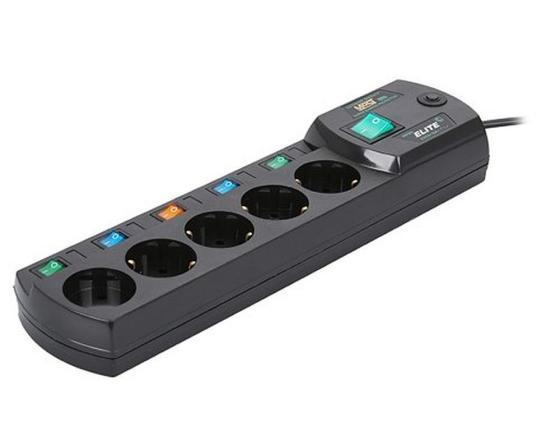 Сетевой фильтр MOST Elite ERG 5 розеток 2 м черный сетевой фильтр most erg 5м