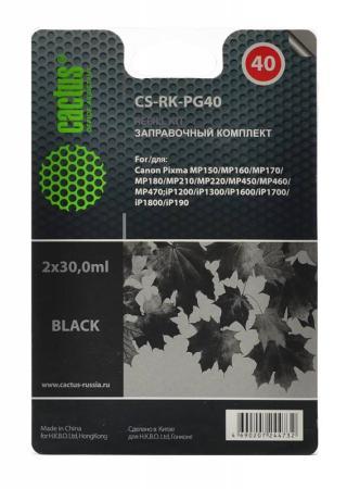 Заправка Cactus CS-RK-PG40 для Canon MP150/MP160/MP170/MP180/MP210 черный чернила cactus cs pg40 для canon 100мл черный [cs i pg40]